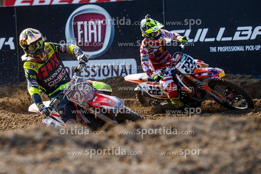 Tim Gajser of Slovenija #243 battling with Antonio Cairoli of Italy #222 during MXGP race for MXGP Championship in Mantova, Italy on 26th of June, 2016 in Italy Photo by Grega Valancic / Sportida