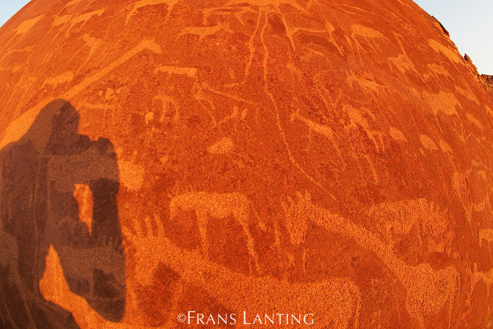 Photographer's shadow on rock engravings, Twyfelfontein World Heritage Site, Uibasen Conservancy, Damaraland, Namibia