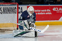 KELOWNA, CANADA - FEBRUARY 13: Matt Berlin #29 of the Seattle Thunderbirds warms up in net against the Kelowna Rockets on February 13, 2017 at Prospera Place in Kelowna, British Columbia, Canada.  (Photo by Marissa Baecker/Shoot the Breeze)  *** Local Caption ***