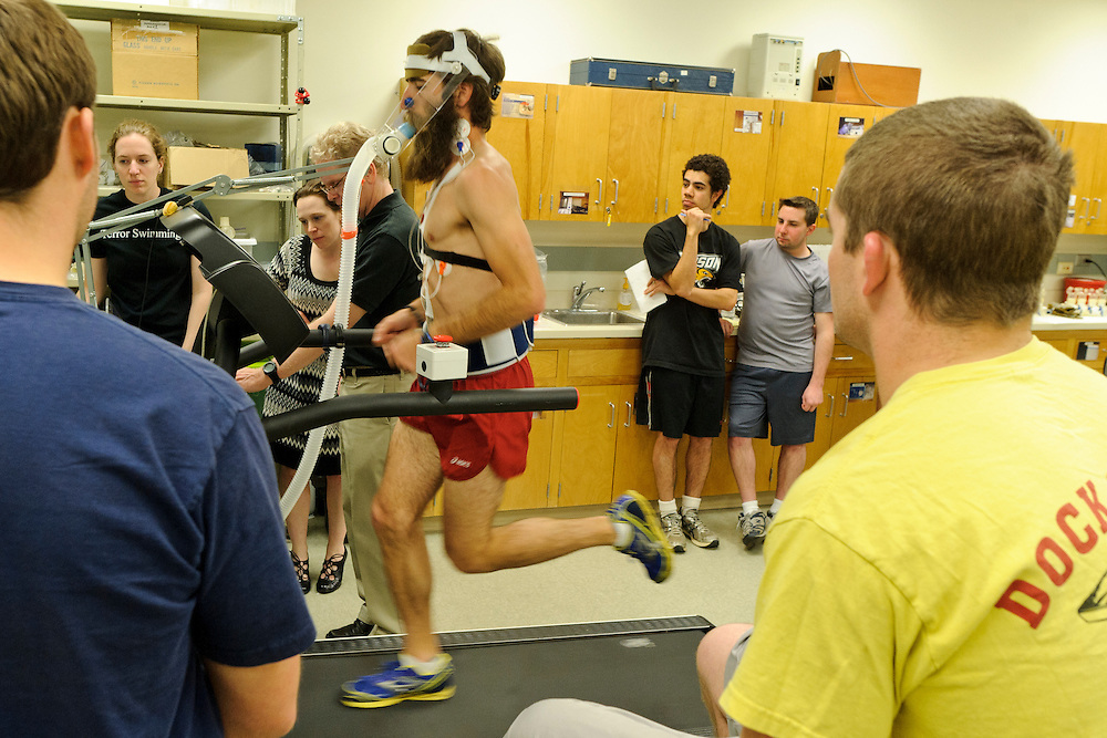 photo by Matt Roth.Wednesday, April 11, 2012..Ron Shriver participates in a VO2 Max test in the Gill Center's Human Performance Lab, Wednesday, April 11, 2012. The test is part of Ron's exercise science lab course. .Ron Shriver is a retired marine staff sergeant. He is also the first in his family to attend college, thanks to the New G.I. Bill. His wife, a fellow retired Marine, is finishing up graduate school in Alaska. After Ron gets his undergraduate degree from McDaniel College in May, he plans to drive to Alaska with is two children Rory, 6, and Miles, 5. For the move Ron got rid of most of his family's belongings, and after his lease was up, he and his children moved back into his parent's farmhouse.