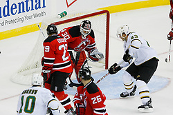 Oct 22, 2008; Newark, NJ, USA; New Jersey Devils goalie Martin Brodeur (30) makes a save on a shot by Dallas Stars defenseman Philippe Boucher (43) during the second period at the Prudential Center.