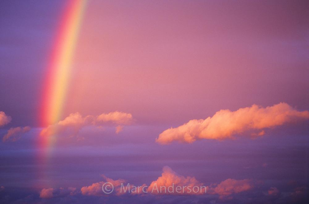 Beautiful rainbow in a pink sky, Australia.
