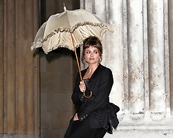 The  launch of BFI Love with Helena Bonham Carter who introduces an open-air screening of her breakthrough film A Room With a View with John Bright the costume designer for the film.  Helena holds her original parasol from the film at The British Museum, Great  Russell Street, London on Thursday 27 August 2015