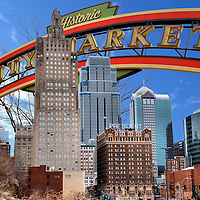 Kansas City, Missouri Composite of Two Photos<br /> Two photos of Kansas City, Missouri are: The welcome sign over the River Market. This is a historic neighborhood called City Market when it opened in 1857 as a farmers&rsquo; market. The composite also shows the skyline of downtown Kansas City including the Hotel President. This landmark was built in 1926, closed for 25 years and then became a Hilton in 2005.