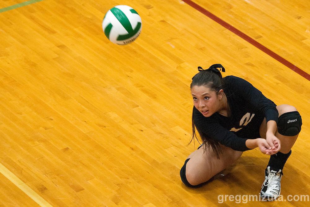 Hannah Mizuta at the Kuna Klassic volleyball tournament at Kuna High School, Kuna, Idaho, August 29, 2015.