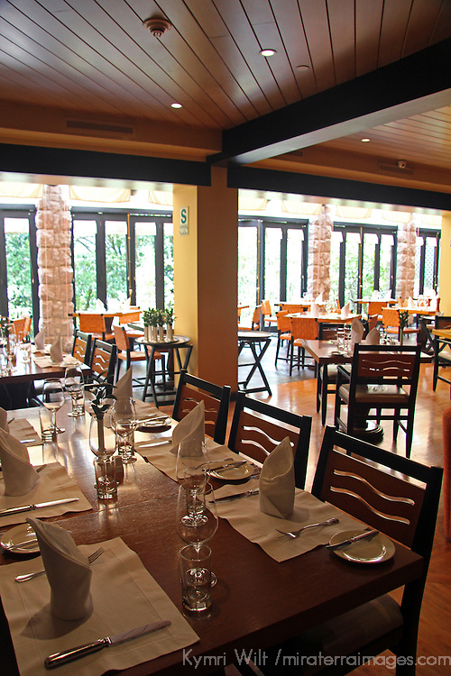 South America, Peru, Machu Picchu. Tampu Restaurant and Bar at Machu Picchu Sanctuary Lodge, an Orient Express Hotel.