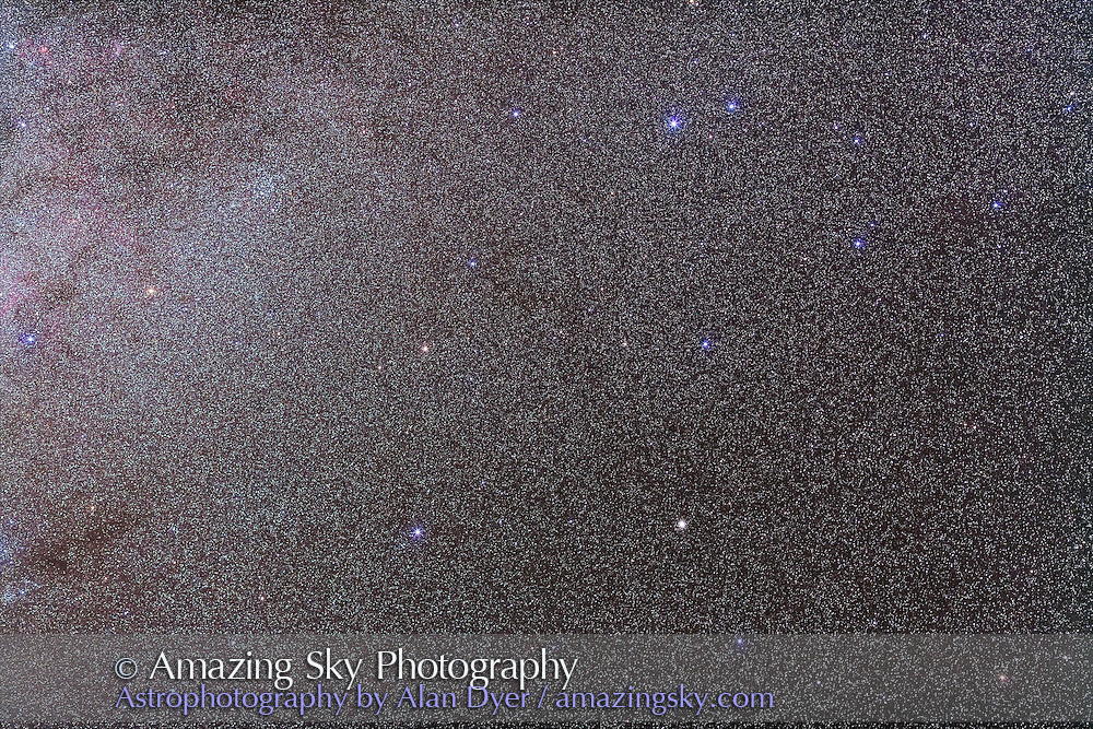 NGC 2808, the Carina Globular, with the 135mm telephoto lens to simulate the field of binoculars. Globular is below and right of centre. This is a stack of 5 x 5 minute exposures at f/2.8 with the 135mm lens and Canon 5D MkII at ISO 800. Shot from Coonabarabran, Australia, Dec 16/17, 2012. Cluster at upper left is NGC 3114.