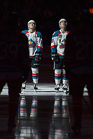KELOWNA, CANADA - APRIL 14: Kyle Topping #24 and Kole Lind #16 of the Kelowna Rockets line up against the Portland Winterhawks on April 14, 2017 at Prospera Place in Kelowna, British Columbia, Canada.  (Photo by Marissa Baecker/Shoot the Breeze)  *** Local Caption ***
