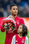 AMSTERDAM - Ajax - ADO , Voetbal , Eredivisie , Seizoen 2016/2017 , Amsterdam ArenA , 29-01-2017 ,  Ajax speler Justin Kluivert zijn basis debuut