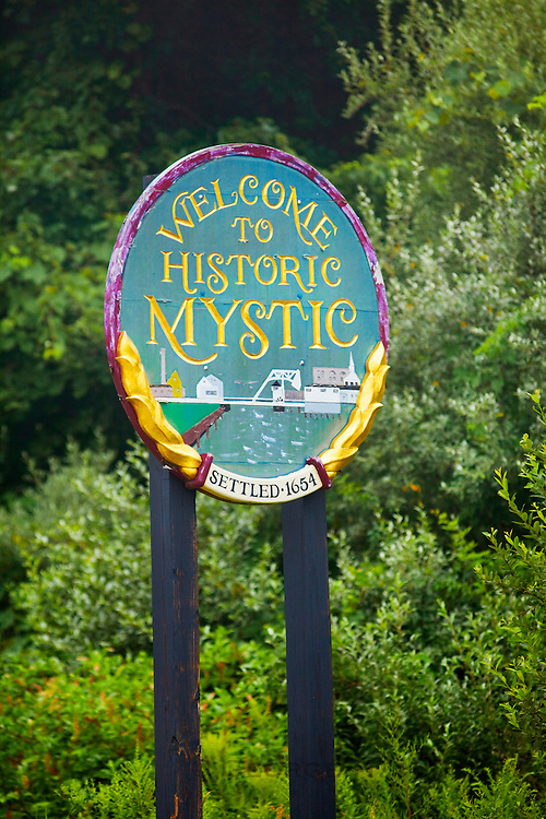 351021-1001G.Huey ~ Copyright: George H.H. Huey ~ 'Welcome to Historic Mystic' sign at edge of town. Mystic, Connecticut.