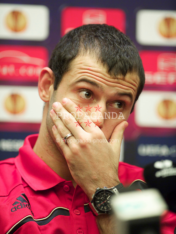 BUCHAREST, ROMANIA - Wednesday, July 24, 2007: Liverpool's Javier Mascherano during a press conference at the Radisson Blu Hotel ahead of the UEFA Europa League Round of 32 2nd Leg match against FC Unirea Urziceni. (Photo by David Rawcliffe/Propaganda)