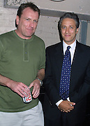 Comedians Colin Quinn-left and Jon Stewart performed at The Gerry Red Wilson Found. Comedy Benefit to raise awareness for Spiral Meningitis at the Town Hall in New York City on June 11, 2002 as part of the Toyota Comedy Series.<br /> photo by Jen Lombardo/PictureGroup
