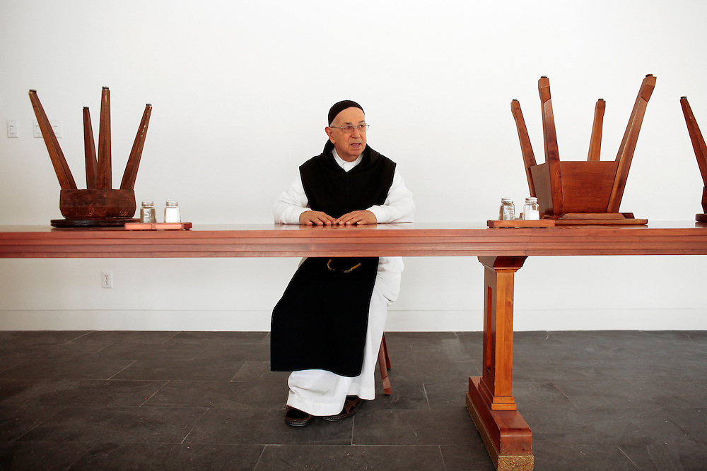 VAL NOTRE-DAME, QC - 17-03-2009: Trappist monk Gaston Des Champs,  86, sits alone in the dining hall of the new Val Notre-Dame Abbey. Construction on the new abbey is nearing completion. Des Champs joined the order in 1942. Photo by Liam Maloney / Maclean's