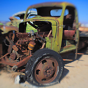 Gutted Green Truck - Pearsonville, CA - Lensbaby