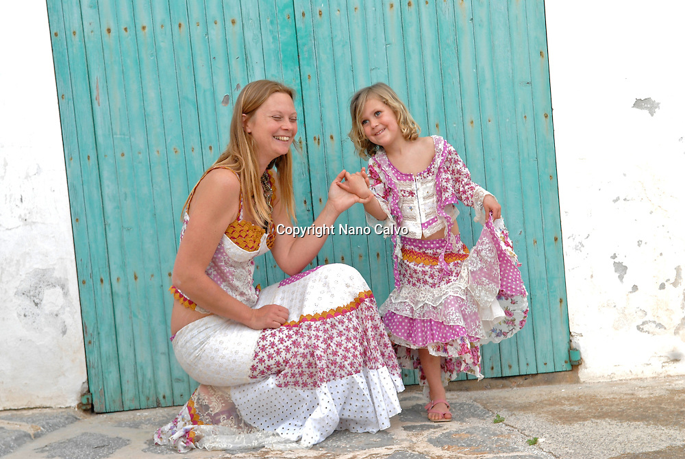 Model Released: Portrait of Mitsou and Eva in ibizan clothes from AdLibitum, Ibiza, Spain