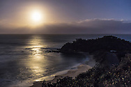 The nearly Full Moon (1 day after Full) lights the ocean with a glitter path at Shelly Beach, at Nambucca Heads, NSW, Australia. <br /> <br /> This is a single 10-second exposure at ISO 400 with the Canon 6D and Canon 35mm lens at f/4.