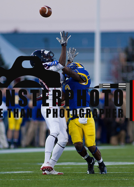 11/11/11 Newark DE: Delaware Cornerback Tim Breaker #3 attempts deflect a pass to Richmond WR #29 Stephen Barnette during a Week 10 NCAA football game...Delaware defeated Richmond 24-10 in front of 18, 808 fans at Delaware Stadium on Saturday Nov. 12, 2011 in Newark Delaware...Special to The News Journal/SAQUAN STIMPSON