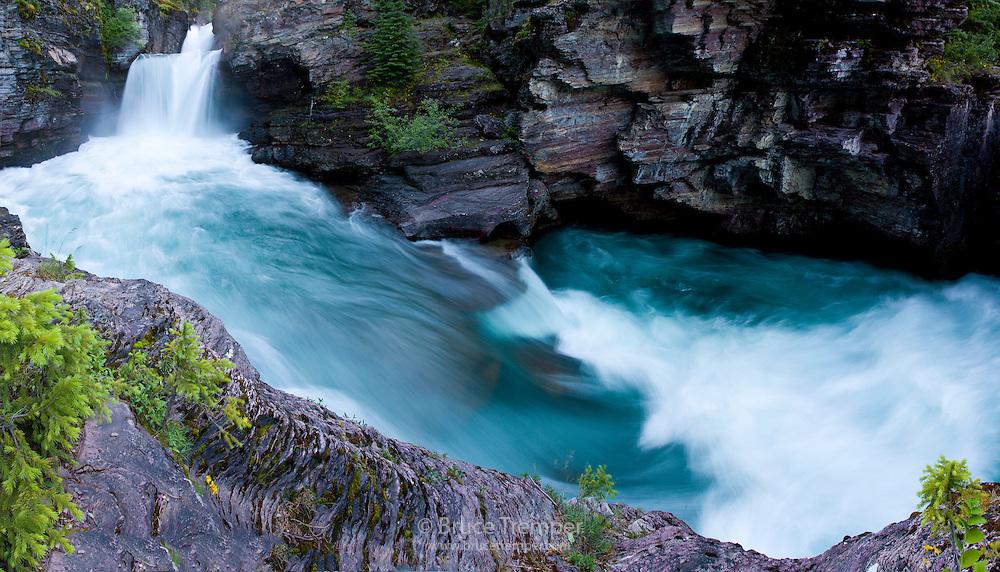 Waterfall panorama - St. Mary's Falls, Glacier National Park, Montana