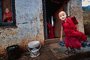 Asia, Bhutan, little monks at Chimi Lhakhang monastery monastry
