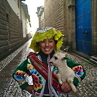 Quechua teen girl wearing traditional clothing