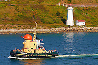 Theodore Too and Lighthouse in the Halifax Harbor. The Theodore Too is an old tugboat that has been converted into a harbor tour boat. It looks like a cartoon character. We saw it go past the ship several times during the day. Image taken with a Nikon 1 V1 camera and 30-110 mm VR lens (ISO 100, 42.2 mm, f/5.6, 1/400 sec).