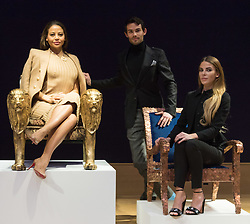 Bonhams, London, February 29th 2016. Emma, Viscountess Weymouth of Longleat seated in the Lion chair she created with Made In Chelsea stars Mark Francis Vandelli and Victoria Baker-Harber during a photocall for &quot;Sitting Pretty&quot;, featuring unique, hand painted and upholstered chairs made by 30 celebrities and artists, at Bonhams ahead of their auction in support of a leading AIDS charity, CHIVA Africa.<br /> &copy;Paul Davey<br /> FOR LICENCING CONTACT: Paul Davey +44 (0) 7966 016 296 paul@pauldaveycreative.co.uk