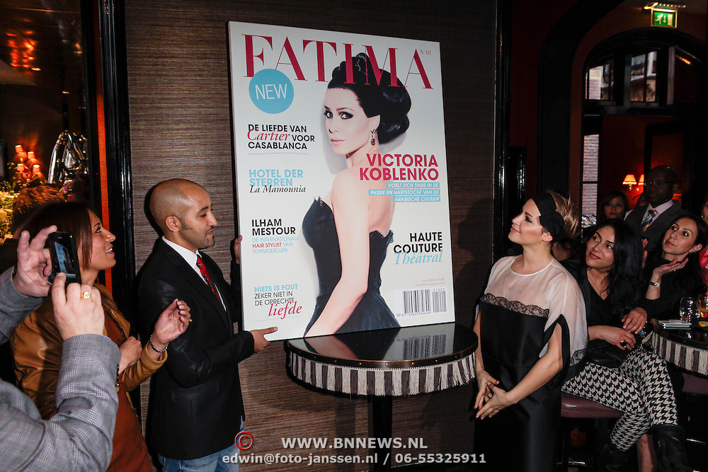 NLD/Amsterdam/20120416 - Lancering Fatima Magazine, onthulling door Victoria Koblenko