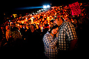 Jennifer O'Neil and Jamie Taylor cuddle near the conclusion of a Rascal Flatts concert - the final event ever at the 5,500-seat Konocti Harbor amphitheater. After 50 years as Kelseyville's premier resort and blue-collar playground, Konocti Harbor closed its doors in November 2009 because a buyer could not be found, ending an era in Lake County entertainment and leaving an estimated 1,000 locals out of work in a region that already suffered from 15% unemployment. Taylor, who worked at the resort for five years, said, &quot;We're really gonna miss this place. I've lived here for 28 years and have been coming here as long as I can remember.&quot; <br /> <br /> Photographed for the LA Times