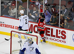 Nov 5, 2008; Newark, NJ, USA; New Jersey Devils right wing David Clarkson (23) celebrates his goal during the second period at the Prudential Center.