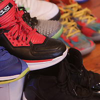 Shoes are displayed during Sneaker Jam Sunday July 20, 2014 at Carolina Club 1880 in Wilmington, N.C. The event offered sneaker collectors the opportunity to purchase and trade new and rare shoes. (Jason A. Frizzelle)