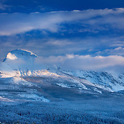 Divide Mountain after autumn snowstorm, Glacier National Park Montana USA