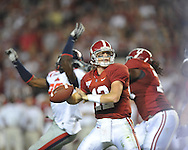 Alabama quarterback Greg McElroy (12) passes at Bryant-Denny Stadium in Tuscaloosa, Ala.  on Saturday, October 16, 2010. Alabama won 23-10.