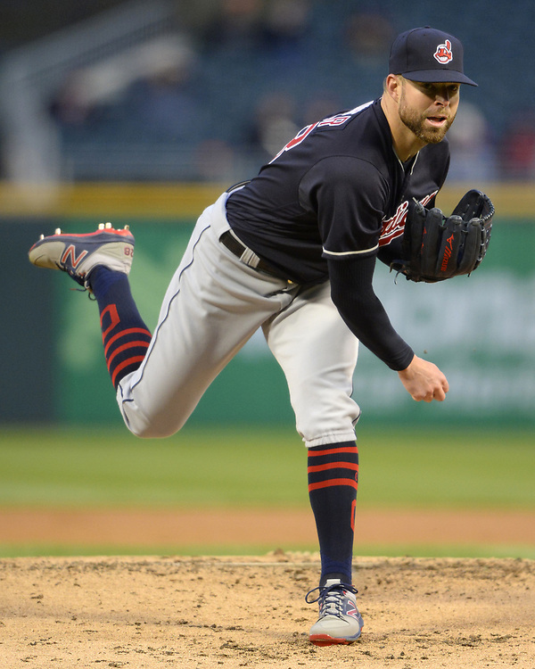 CHICAGO - APRIL 21:  Corey Kluber #28 of the Cleveland Indians pitches against the Chicago White Sox on April 21, 2017 at Guaranteed Rate Field in Chicago, Illinois.  (Photo by Ron Vesely)   Subject:  Corey Kluber