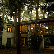 The Glass Bridge Pavilion at dusk.<br />