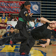Students from The Newark Kenpo Karate school performs at half time of an NBA D-league regular season game between the Delaware 87ers and the Greensboro Swarm (Charlotte Hornets) Wednesday, March 29, 2017, at The Bob Carpenter Sports Convocation Center in Newark, DEL