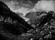 The Fiescher Glacier, the Alps' 3rd longest, snakes through a tight valley adjacent to the Great Aletsch Glacier.  It too is receding quickly up the steep valley.  Switzerland.