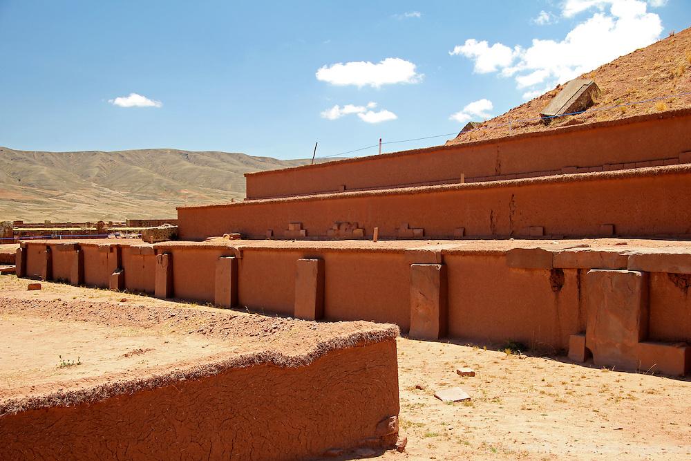 South America, Bolivia, Tiwanaku. Akapana Pyramid at Pre-Columbian archaeological site of Tiwanaku, a UNESCO World Heritage Site.