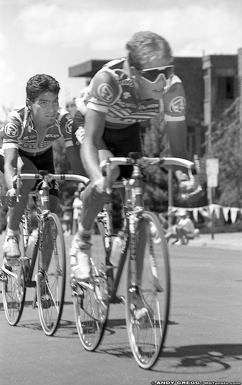 Andy Hampsten and Raul Alcala racing in the Aspen Criterium at the 1987 Coors Classic.