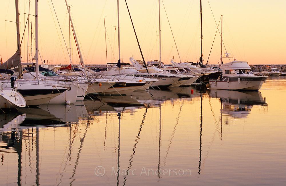 Yachts moored in Puerto Banus Harbour, Costa Del Sol, Spain