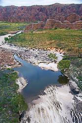 Aerial image of a scoured creek near the Bungle Bungles in the Kimberley wet season.