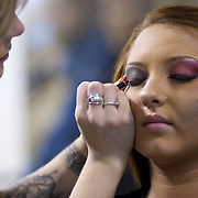04/20/12 Newark Del. Model Sam Tigani has make up applied  by make up artist Rachel Sauer during a dress rehearsal Friday, April. 20, 2012 at The Paul Mitchell school of Delaware Friday, April. 20, 2012 in Newark Del...Special to The News Journal/SAQUAN STIMPSON