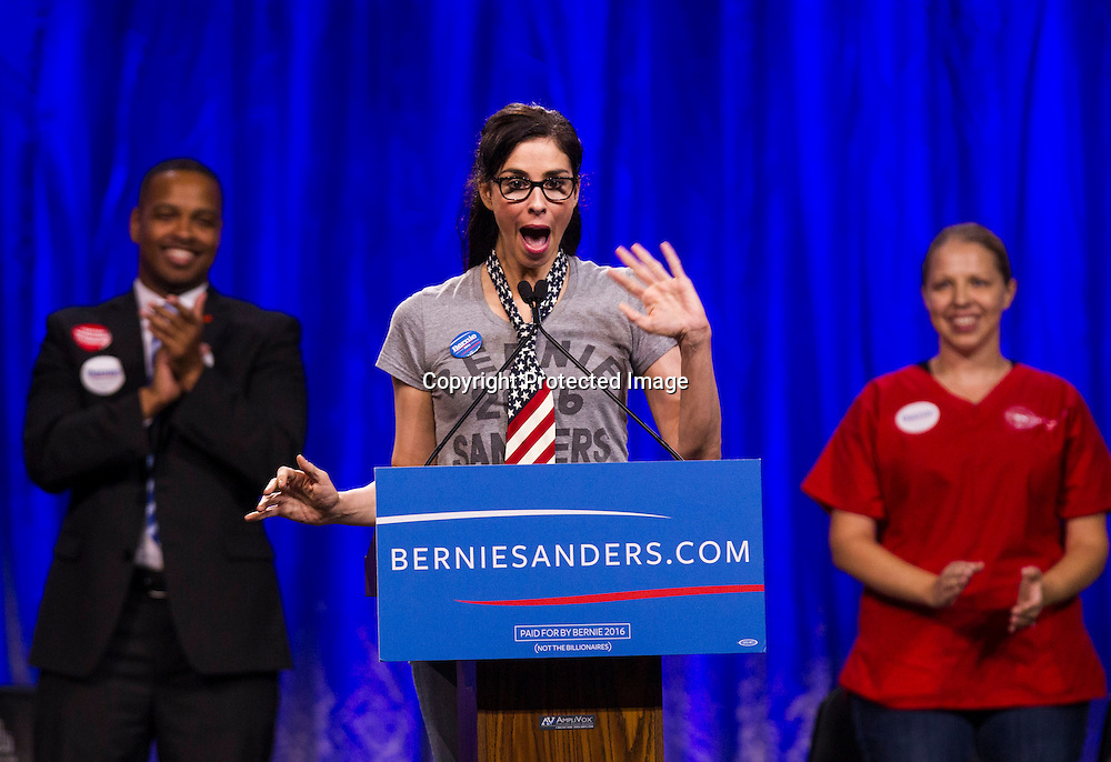 Comedienne and actress Sarah Silverman speaks at a rally for democratic presidential candidate Sen. Bernie Sanders, I-Vt., Monday, Aug. 10, 2015, at the Los Angeles Memorial Sports Arena in Los Angeles. (AP Photo/Ringo H.W. Chiu)