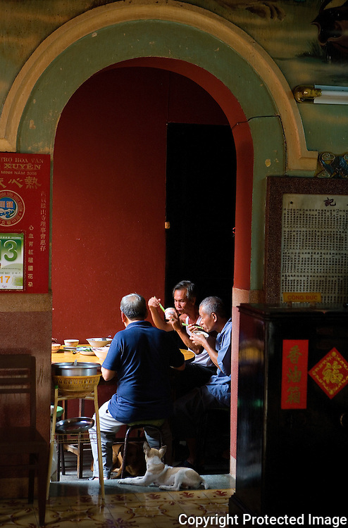 Lunch in a temple in Ho Chi Minh City's China Town, Vietnam