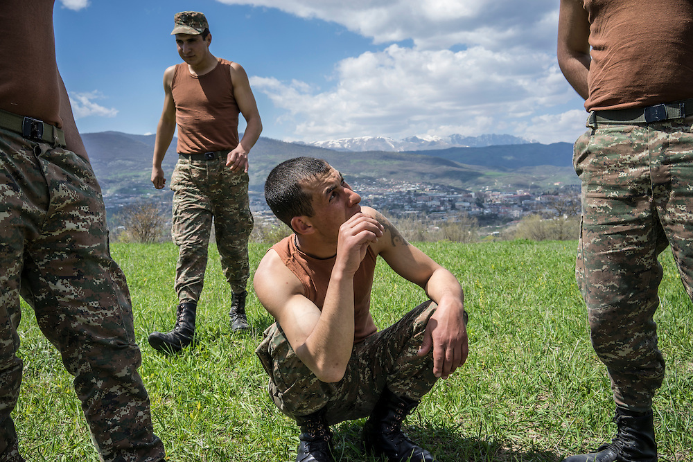 KARASHEN, NAGORNO-KARABAKH - APRIL 19: Samson Israelyan (L) and Shavalat Sargsyan, Armenian soldiers from Spitak, on April 19, 2015 in Karashen, Nagorno-Karabakh. Since signing a ceasefire in a war with Azerbaijan in 1994, Nagorno-Karabakh, officially part of Azerbaijan, has functioned as a self-declared independent republic and de facto part of Armenia, with hostilities along the line of contact between Nagorno-Karabakh and Azerbaijan occasionally flaring up and causing casualties. (Photo by Brendan Hoffman/Getty Images) *** Local Caption *** Samson Israelyan;Shavalat Sargsyan