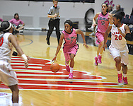 "Ole Miss' Valencia McFarland (3) vs. Georgia's Shacobia Barbee (20) in women's basketball at the C.M. ""Tad"" Smith Coliseum in Oxford, Miss. on Sunday, February 24, 2013. Georgia won 73-54."