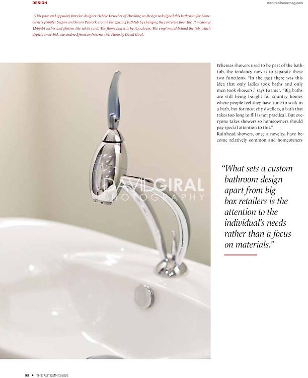 bathroom editorial for Montreal Home Magazine, Autumn Issue 2011 | design - architecture - landscape