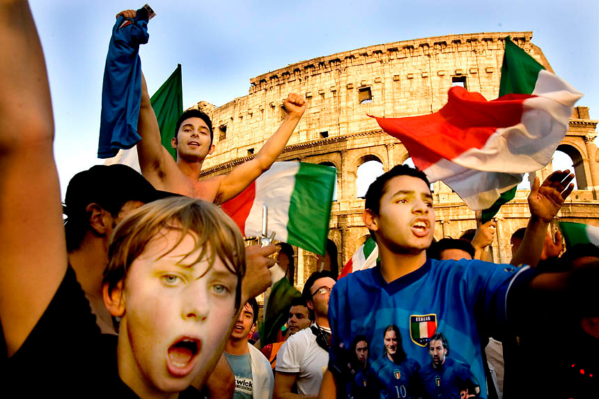 Italian supporters celebrate Italy's win over Australia in the second round of Fifa soccer World Cup 2006. Italy won after Francesco Totti scored a penalty in the last seconds