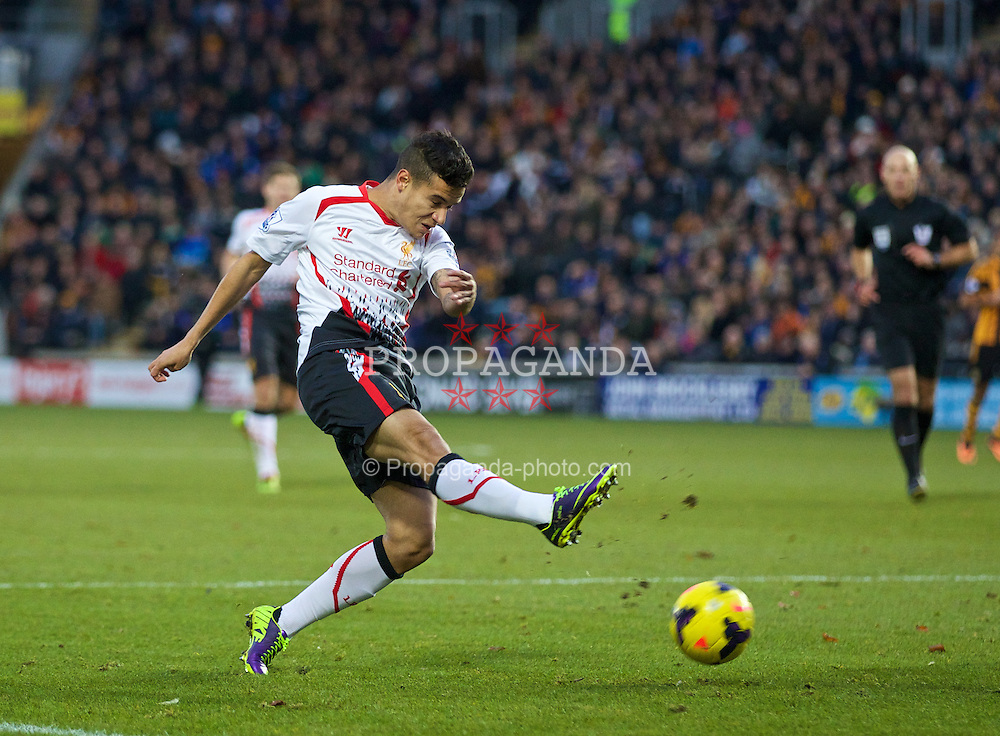 HULL, ENGLAND - Sunday, December 1, 2013: Liverpool's Philippe Coutinho Correia in action against Hull City during the Premiership match at the KC Stadium. (Pic by David Rawcliffe/Propaganda)