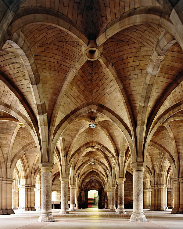 The Cloisters, beneath the tower of the University of Glasgow. Designed by architect, George Gilbert Scott.<br /> Mounted photograph available to purchase.