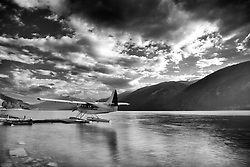 De Havilland Turbo Otter rests for the night on Muncho Lake